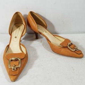 Celine Tan Leather Pointed Toe Buckle Shoe Size 38
